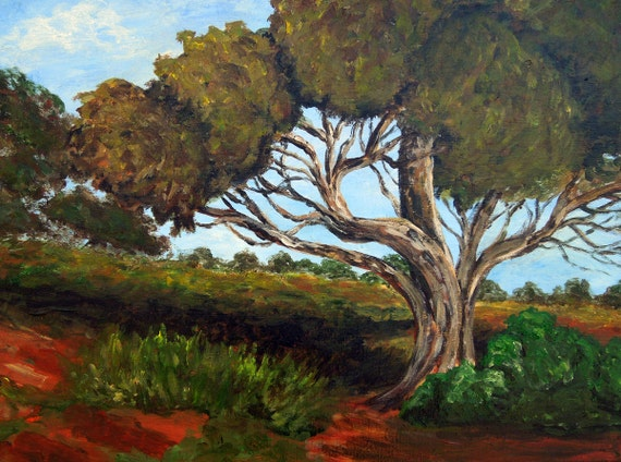 """Tree painting is an original, 12""""x 16"""" acrylic on canvas"""
