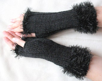 Fingerless Gloves Black Arm Warmers Mittens Knit, Acrylic