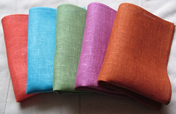 "Linen Napkin Serviette Turquoise Blue Green Pink Purple Orange Brown Red set of 6 - Flax - 17.3"" x 11.8""  size"