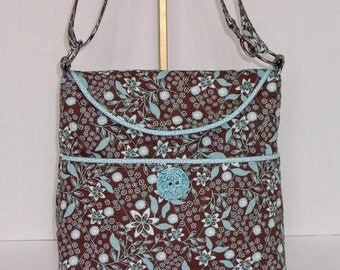 Fabric Handbag Crossbody - Chocolate and Teal Floral Cotton Quilted Medium Convertible Cross Body Purse