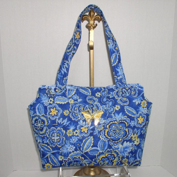Fabric Handbag Blue Floral Quilted Savvy Bag