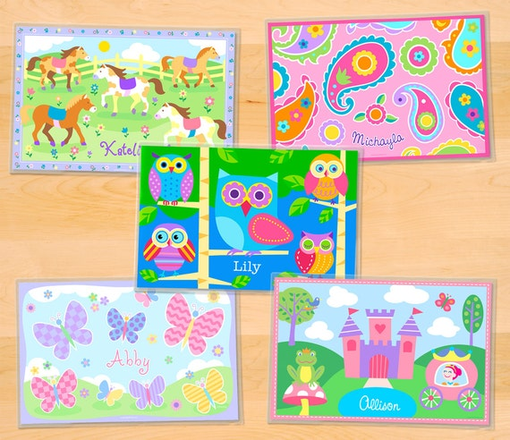 Olive Kids Personalized Girls Mealtime Placemats, Girls Laminated Mealtime Set of 5, Owls Placemat, Princess Placemat, Butterfly Placemat