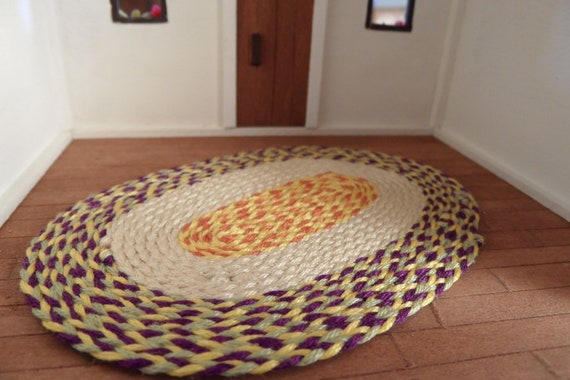 Autumn Color for Your Dollhouse. Miniature Braided Rug in Fall Colors.Quarter Scale Carpet.
