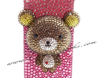 3D Deco Rilakkumma  Austrian Crystal and Swarovski Elements Case cover for iPhone 5 6 Plus Galaxy S4