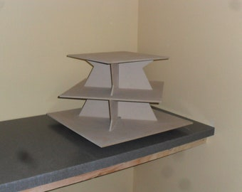 Large 3 Tier Cupcake Stand Square Zig Zag