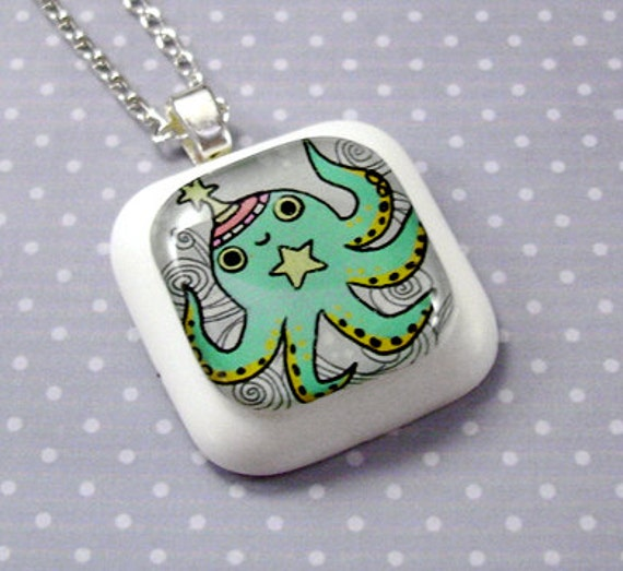 Teal Space Octopus Resin Pendant