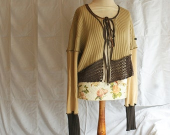 Short Brown Asymmetrical Cardigan Loose Jacket  Upcycled Blazer Woman's Clothing Shabby Chic Eco Friendly Style