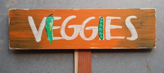 """Hand-painted Garden Sign """"VEGGIES"""""""