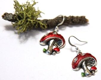 Summer Outdoors Party Cute Mushroom Earrings Magic Mashroom Jewelry Red Polka Dot Earrings Nature Earrings Woodland Earrings