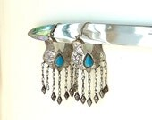 Vintage Earrings Ethnic Tribal Gypsy Belly Dance with Metal Dangles and Turquoise Stones