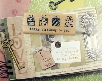 Birthday Giftbox Rubber Stamp