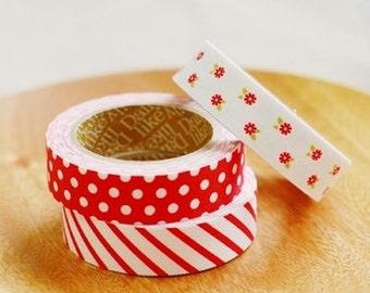 Decorative Adhesive Fabric Masking  Tape- Red Ribbon (3 Set)
