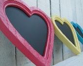 Small Heart Framed Chalkboard Office Nursery School Kitchen Wedding Decor in Bright Berry Pink