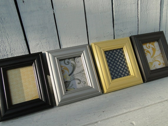 "Small Picture Frame Set Collection Gallery Wall Modern French Country Paris Apartment yellow gray modern ""Cold Metallic and Warm Yellow"""
