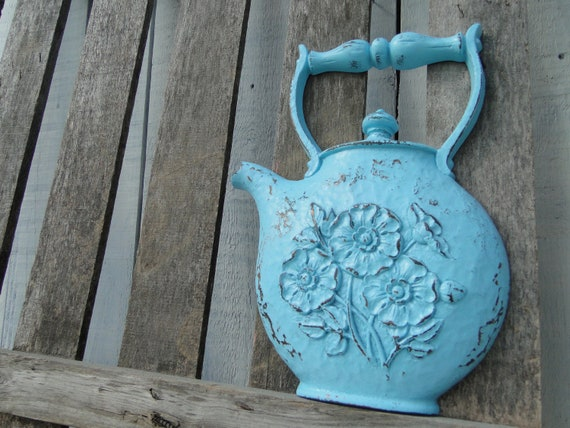 "Updated Kitchen Wall Decor vintage resin teapot plaque in distressed aqua ""Singled out Teapot"""