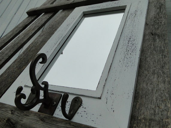 Key Hooks with Mirror in Distressed White for by TRWpainted