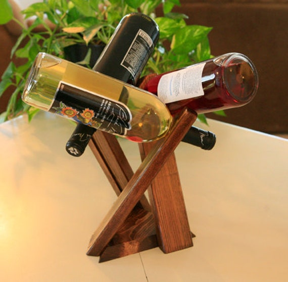 Decorative Wine Rack Three Bottle Table Top Pine By Galleryh