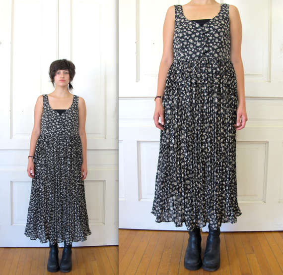 Vtg 90s Grunge Floral Print Maxi Dress / Sleeveless Pleated Dress