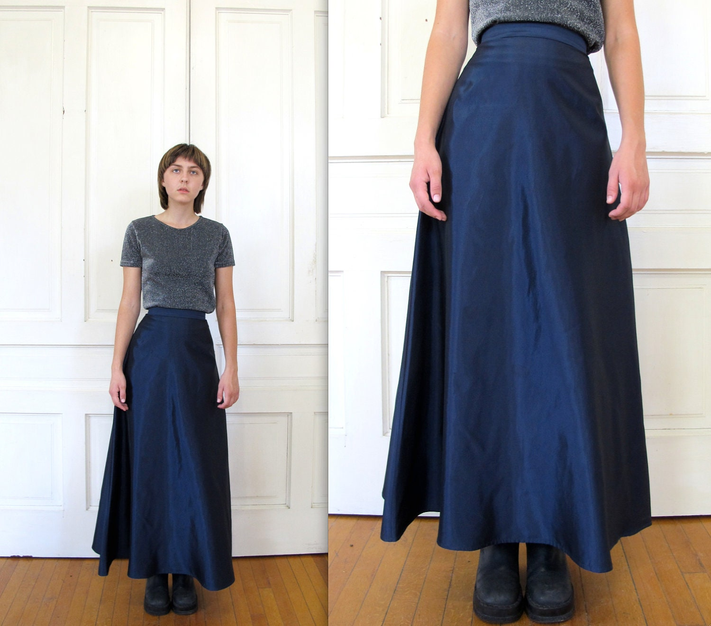 Vtg 90s High Waist Navy Maxi Skirt / A Line Satin Skirt /