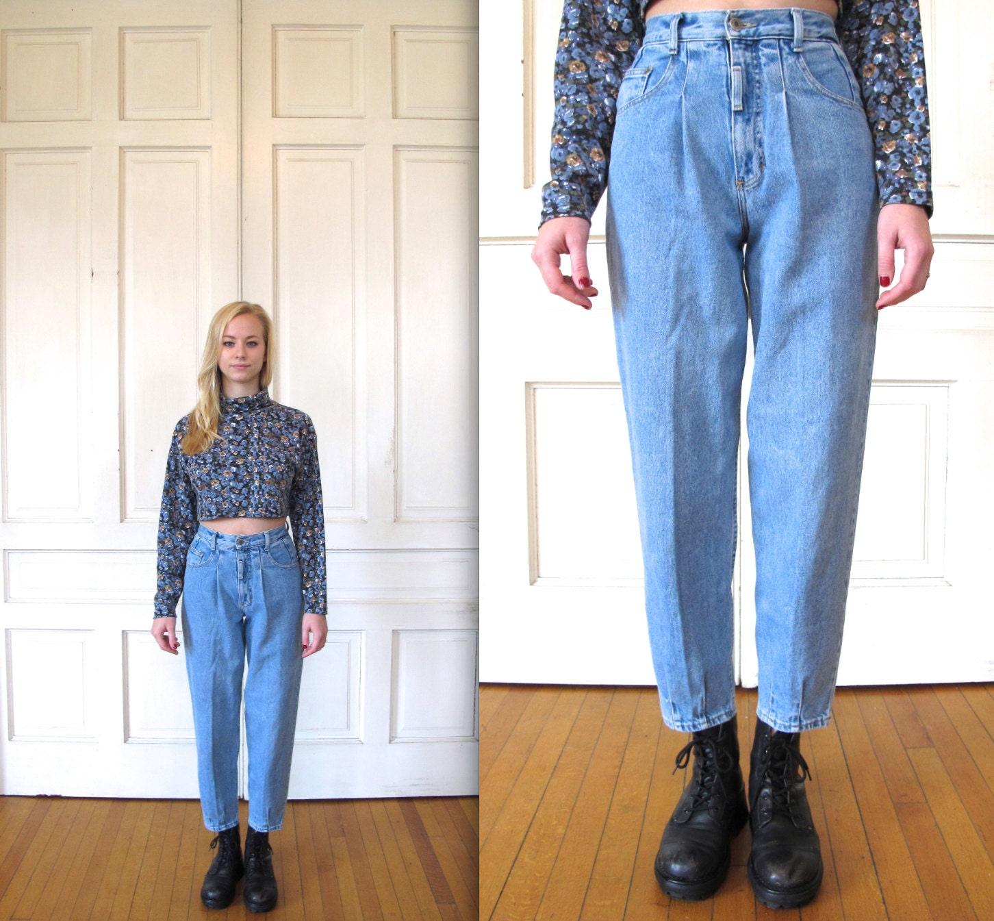 Vtg 90s High Waisted Stone Wash Blue Jeans / Light Blue
