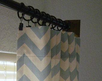 Pair of Village Blue and Natural Zig Zag Chevron Curtains 50 x 63 84 96 108 120 inch Designer Custom Drapes