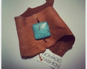 The Sophie - Leather Cuff with Turquoise Bead