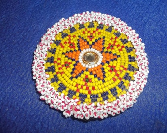 Hand made beaded rosette native american Indian pow-wow