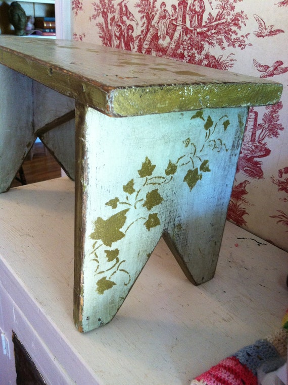 Stool with Ivy Green and Light Blue very Solid Rustic Cottage Chic.... Please note this item is reserved for luci