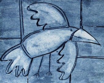 As the crow flies - Slate grey, Signed Original Collagraph, hand pulled relief print