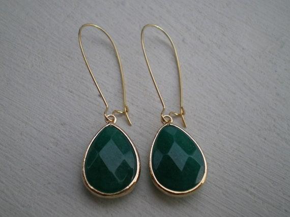 Beautiful Emerald Jade Teardrop Earrings