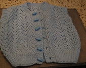 Hand Knit Crocheted Baby Blue Vest 24 mos 2T Baby Boy Sweater Vest