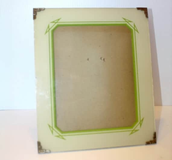 Vintage Photo Picture Frame Art Deco Reverse Painted Glass 10 x 12