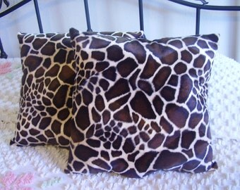 Faux Fur Handmade Brown Giraffe Print Throw Pillows Set of Two 15 X 15  Wild Life Decor Living Room, Bed Room, Den Great Gift