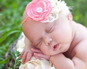 Newborn Photography Prop  - Satin Flower Headband in Coral and Ivory Lace - Rosette Headband