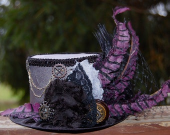 Steampunk Mini Top Hat - Alice in Wonderland - Party Top Hat - Steampunk Hat