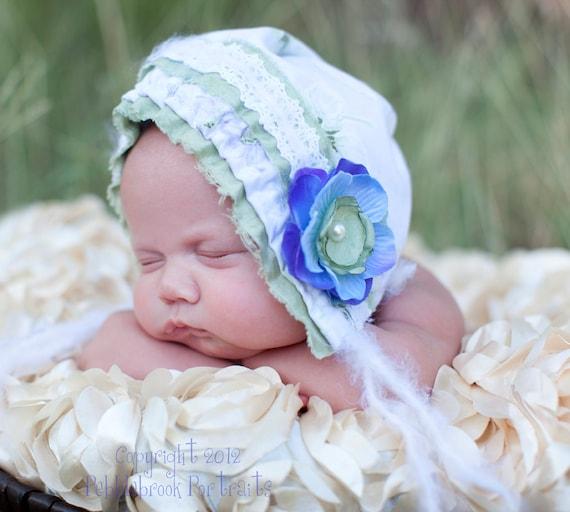 Baby Bonnet - Newborn Photo Prop - Vintage Inspired Prop - Baby Hat - Newborn Bonnet