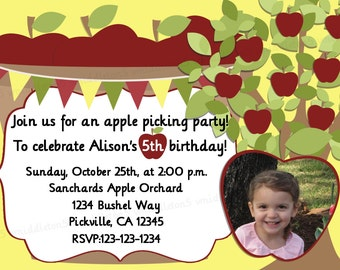 Apple Picking Party Birthday Invitation Print Your Own 5x7 or 4x6