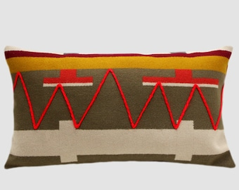 "Decorative Pillow case, Pure Geometric Multicolored Wool Lumbar pillow cover with red yarn embellishment, fits 12"" x 20"" insert, Home Decor"