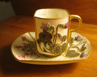 Beautiful Royal Worcester china demitasse cup and saucer, made in 1881