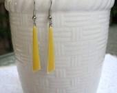 Yellow Triangle Earrings Geometic Modern Fun Trendy Dangle