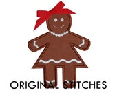 Gingerbread Woman Applique and Embroidery Digital Design File 4x4 5x7 6x10
