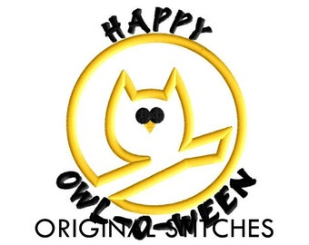 HAPPY OWL-O-WEEN Applique and Embroidery Design File 4x4 5x7 6x10 7x11 8x12