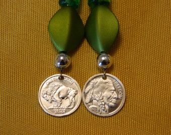 Indian Head/Buffalo Earrings with olive green beads
