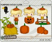 Pumpkin Patch Cutie, girl in pumpkin patch, haystack, great for halloween, fall  autumn colored clip art,  for card making and scrapbooking