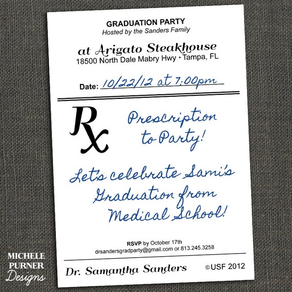 medical field graduation party invitation by