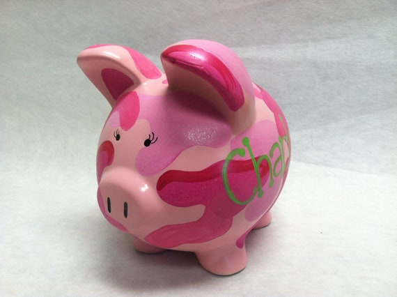Personalized Piggy Bank Pink Camoflauge