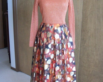 SALE - Futura Couture  of New York Hostess Dress Novelty Fall Leaves Lurex Thanksgiving Colors S M