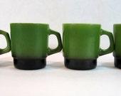 Anchor Hocking Fire King Stacking Mugs Set Of 4 Green To Black Blend Vintage 1970's