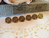 Goldtone Medallion Buttons - Sewing, Needlework, Scrapbooking, Card Making.