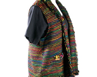 Vintage Brightly Colored Woven Vest in Silk by Chico's circa late 1980s - Medium